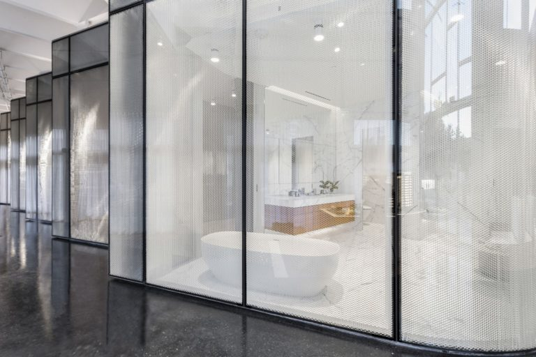 Monad Terrace Sales Gallery - Honeycomb Facade and Master Bath -JDS